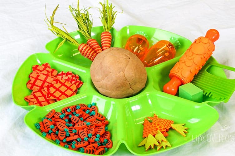 This carrot play dough is great for practicing skills like patterning, symmetry and also work on fine-motor skills.