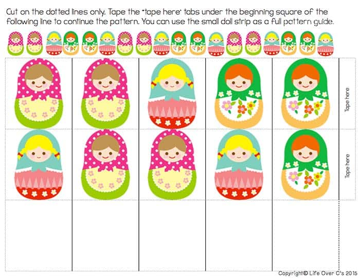 Free Matryoshka Pattern Printable for Kids