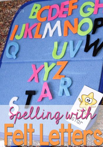 Spelling practice with felt letters for a fun way to change up your usual activities