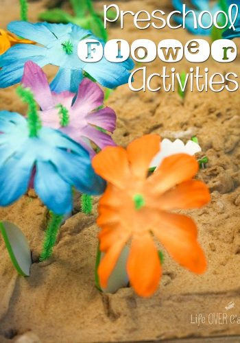 Flower themed preschool activities! Learn colors, count, and practice fine motor skills by planting flowers in a garden!