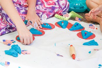 Give a little patriotic flare to your summer play dough fun! Celebrate Memorial Day or the 4th of July with this fun play dough party!