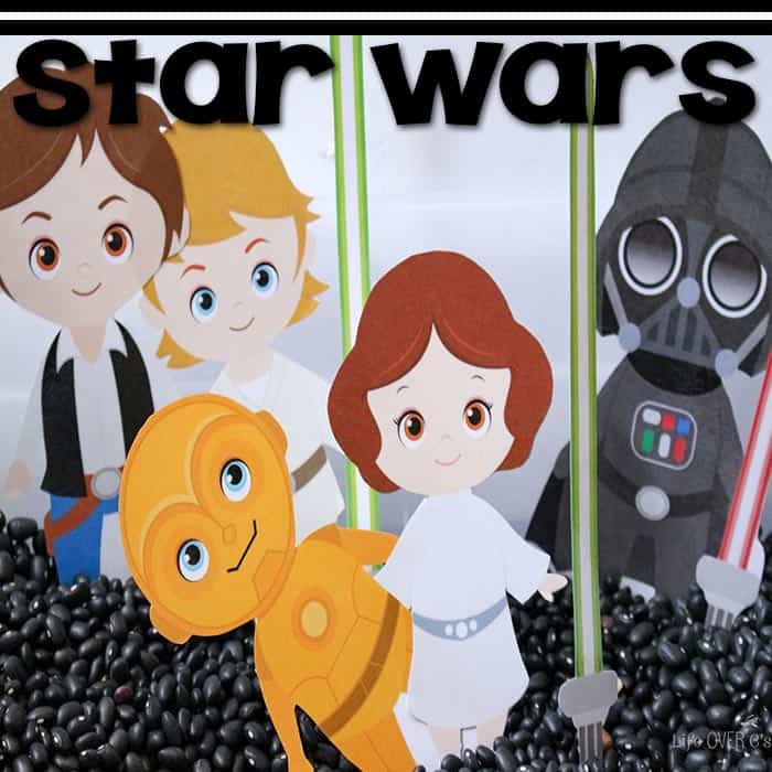 Free printable Star Wars characters for play dough and sensory bin pretend play.