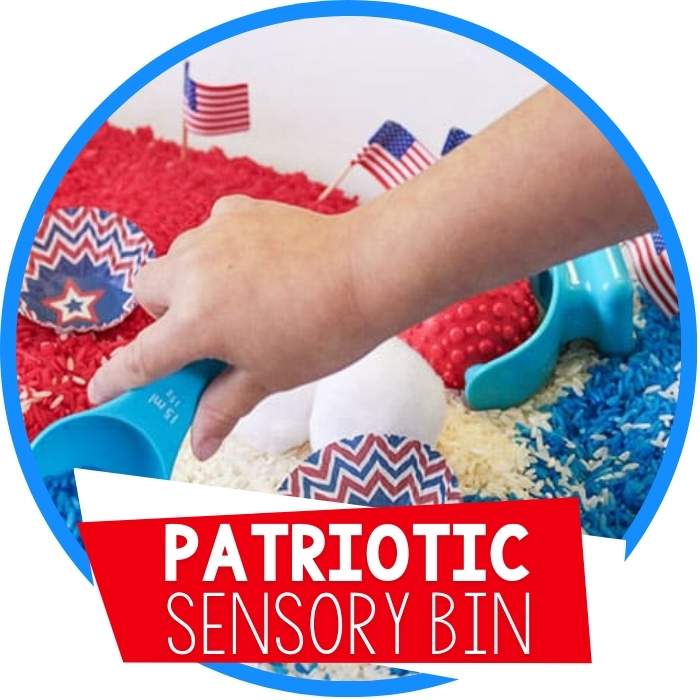 Red, White and Blue Patriotic Sensory Bin Featured Image