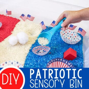 Red, White and Blue Patriotic Sensory Bin Featured Square Image