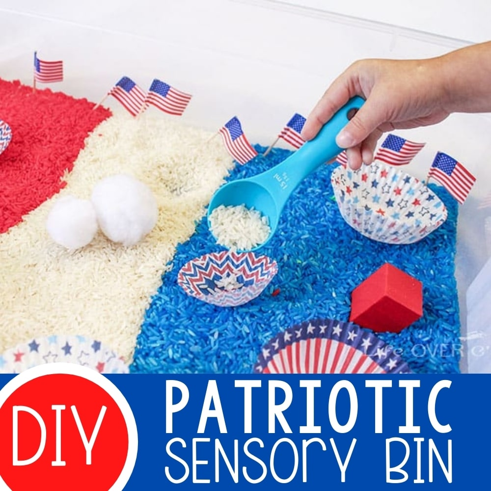 Fabulous Red, White and Blue Patriotic Sensory Bin