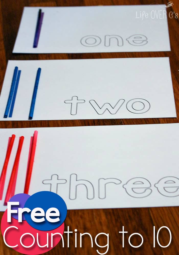Use these simple, free counting cards to learn about numbers with your preschooler!