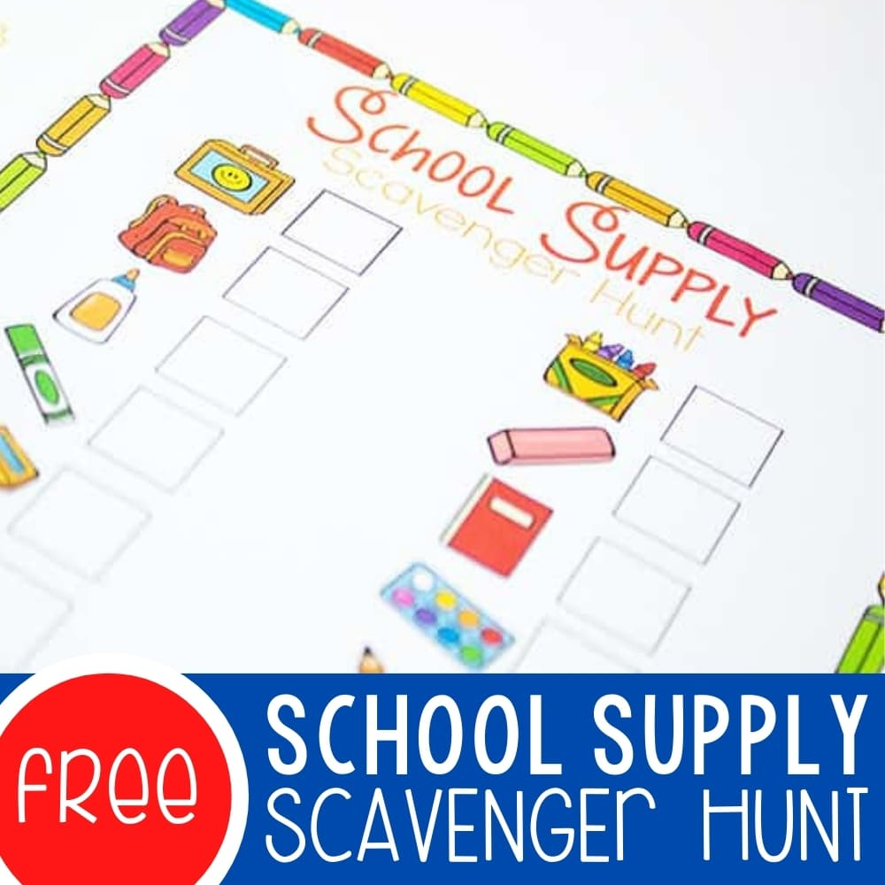 Free Back to School Scavenger Hunt Printable