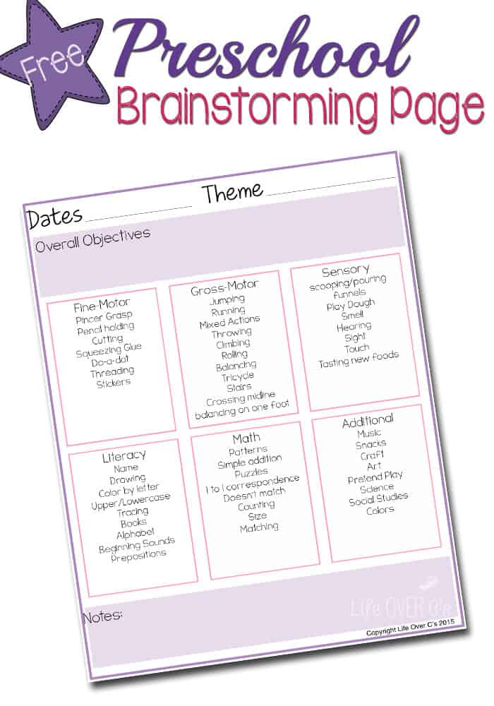 You can use this free preschool theme planner to help you meet all the objectives for preschool in a fun, hands-on way!