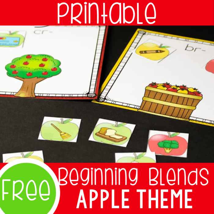 Free beginning blends sort for kindergarten or review in first grade. Kids will love sorting the apples to the correct blends to fill their cards.