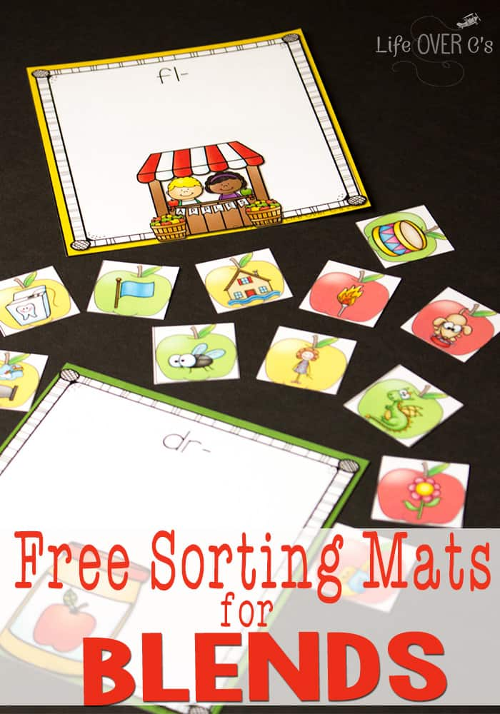 These FREE apple themed blends sorting mats are awesome!