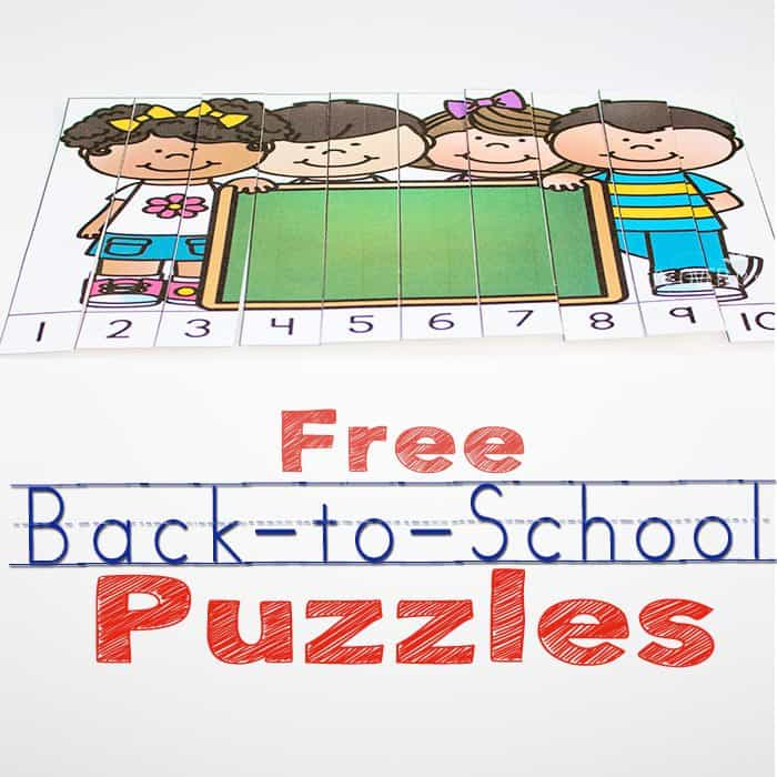 These free back to school puzzles are great for practicing counting to 10 with your kindergarteners.