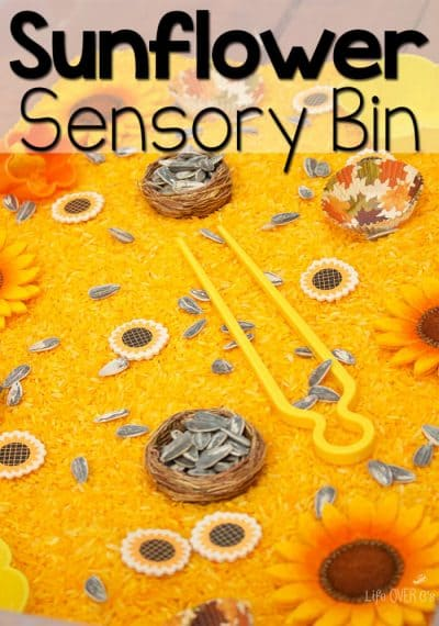 This sunflower sensory bin is a perfect way to work on fine-motor skills while exploring the beautiful yellows of fall!