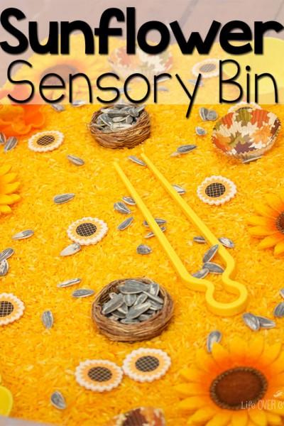 Sunflower Sensory Bin for Fine-Motor Skills