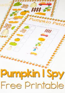 This free pumpkin patch I Spy printable is a perfect activity for counting with preschoolers. Plus, I love the scavenger hunt option. It will be great for when we go to the pumpkin farm.