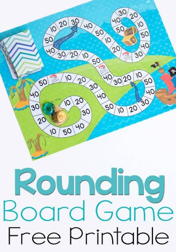 This free printable pirate board game for rounding to the nearest ten is a great way to practice rounding! So much fun, the kids will love playing!