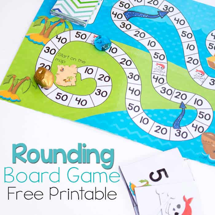 picture about Printable Board Games called Totally free Printable Pirate Board Sport: Rounding toward Tens