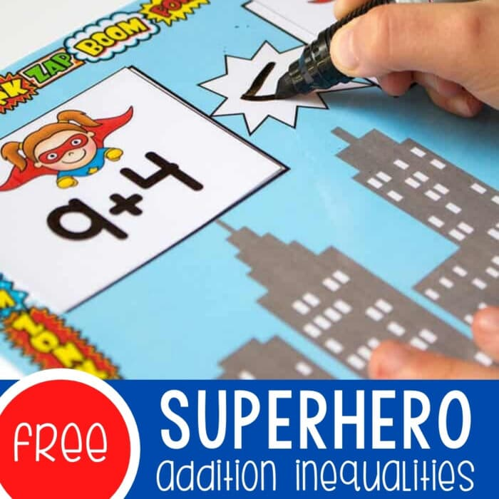 superhero addition printable greater than less than activity for kindergarten