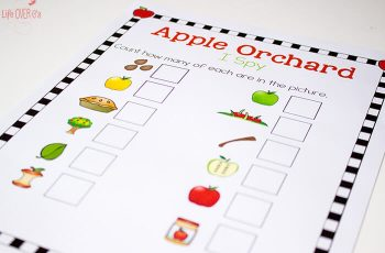 This is perfect for fall! You can talk about the parts of an apple & practice counting!