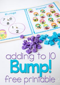 This free printable addition game for adding to 10 is a great way to review addition facts!!