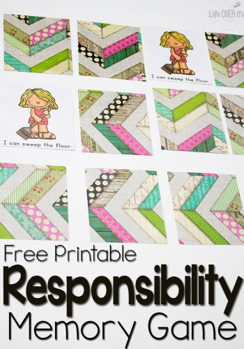 This free memory game for learning responsibility is perfect for preschoolers and beginning readers! Clear pictures and easy words mean they can play and learn!