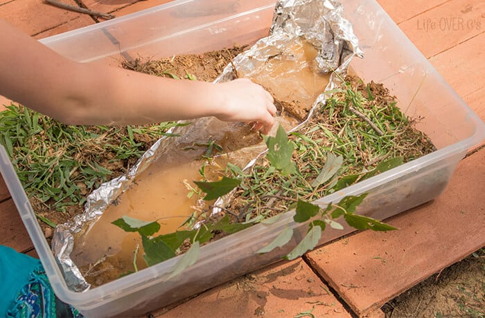 Create a river small world with your kids and talk about the habitats of river wildlife.