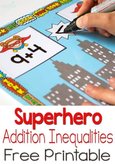 This free printable for inequalities with addition is perfect! The superhero theme is just perfect!