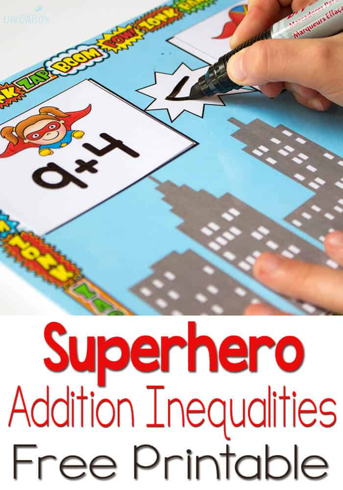 Free Superhero Printable for Inequalities with Addition