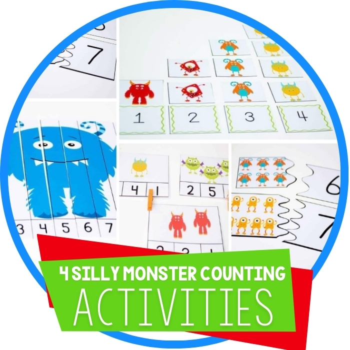 4 Free Silly Monster Printables for Counting to Ten