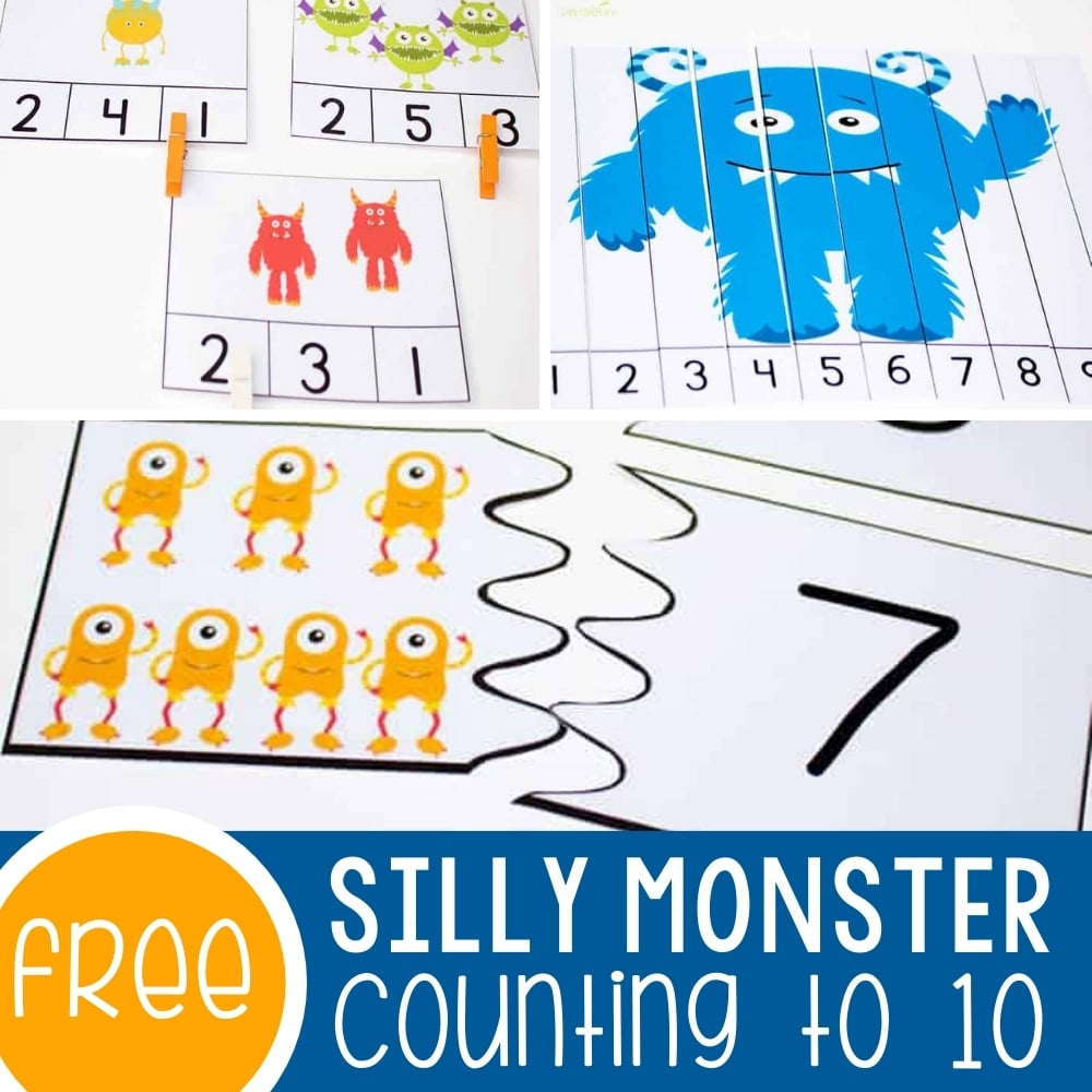 4 Free Silly Monster Printables for Counting to Ten Featured Square Image