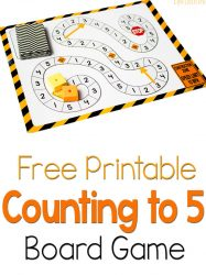 Free Counting to 5 Game: Construction Theme