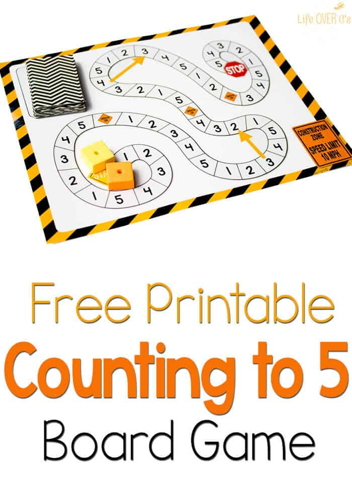 This free printable counting to 5 board game is so fun! And the construction theme is great for preschool.