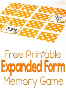 This expanded form memory game is such a fun way to learn about place value! I love how she makes her cards!
