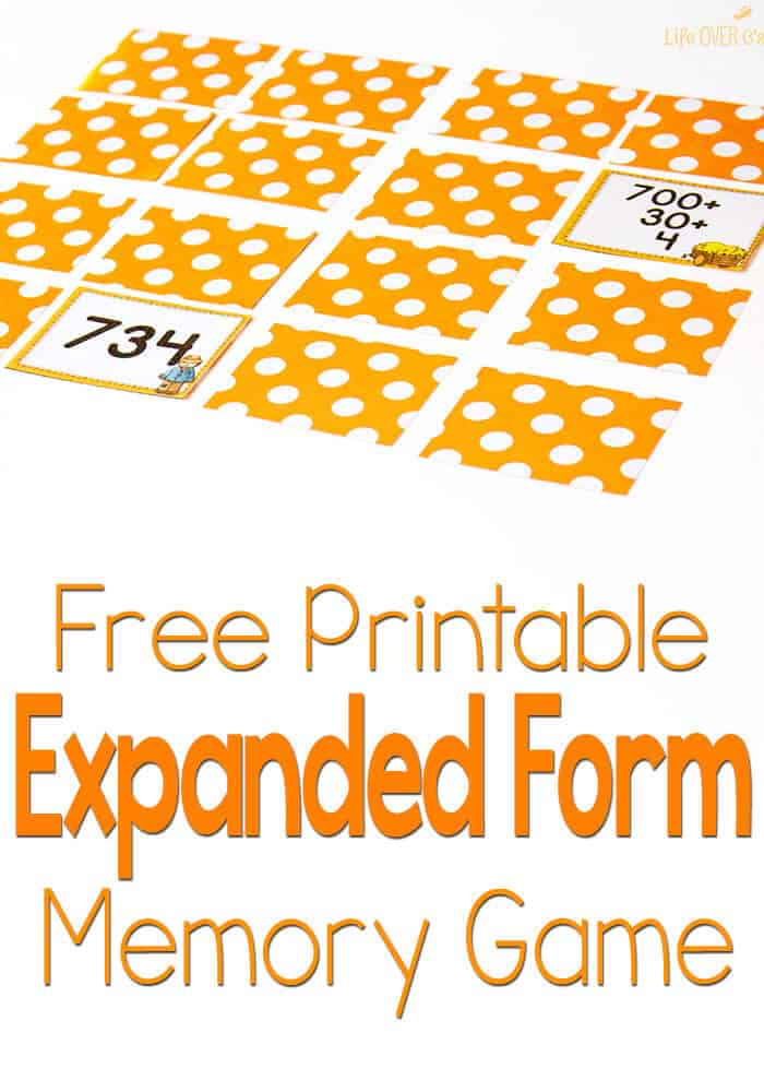 Free Scarecrow Expanded Form Memory Game for Fall