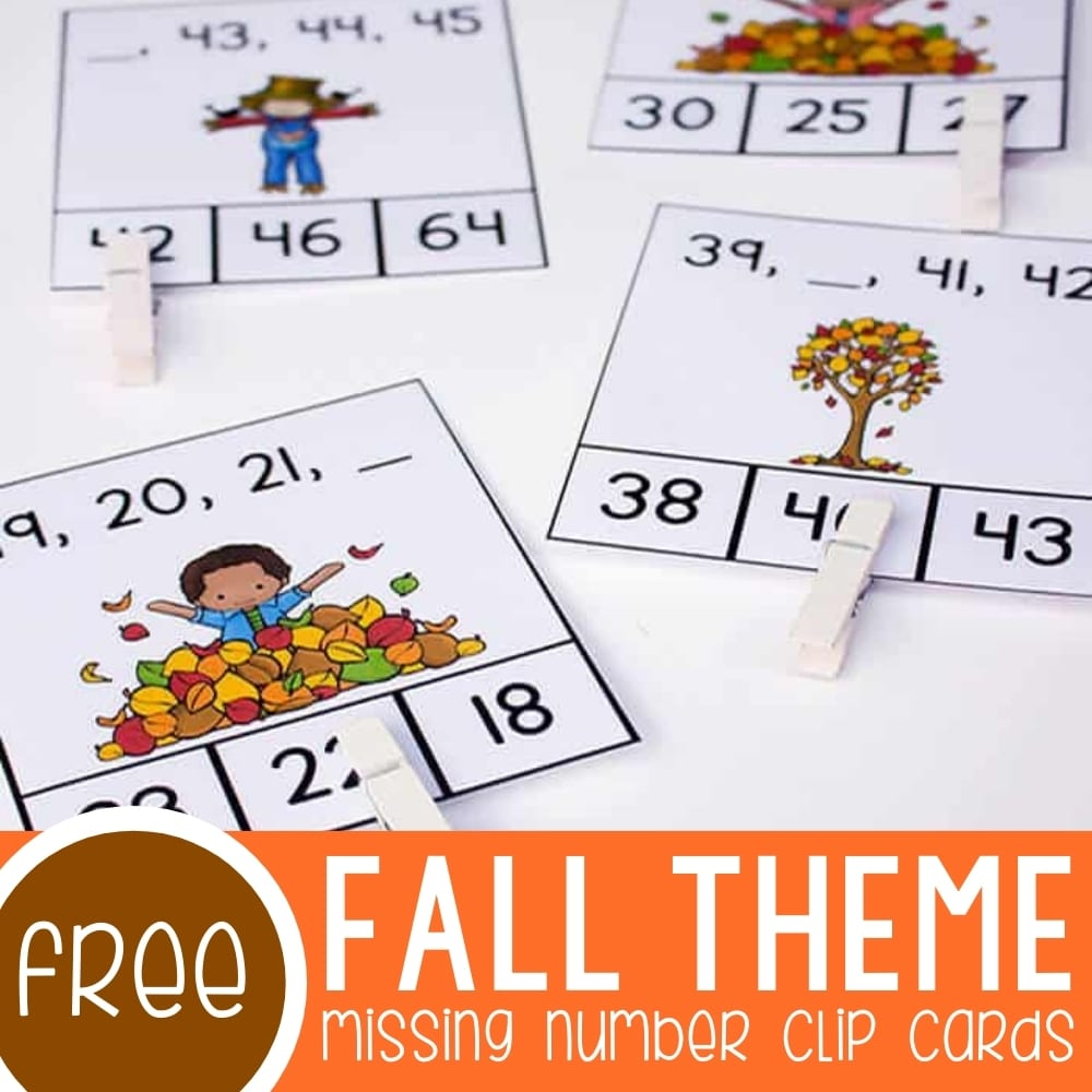 Free Missing Number Clip Cards for Fall