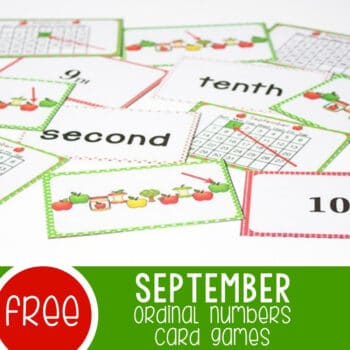 Ordinal Numbers Card Game for September Featured Square Image