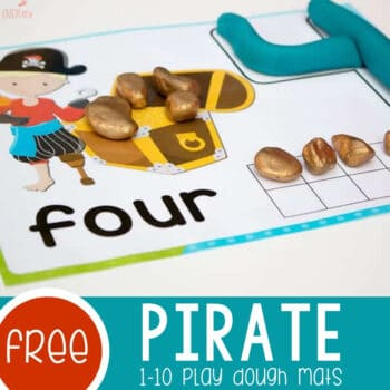 Pirate Play Dough Mats Numbers 1-10 Featured Square Image