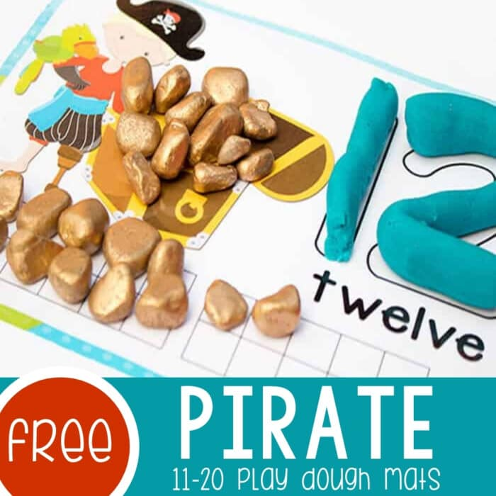 Pirate Play Dough Mats Numbers 11-20 Featured Square Image