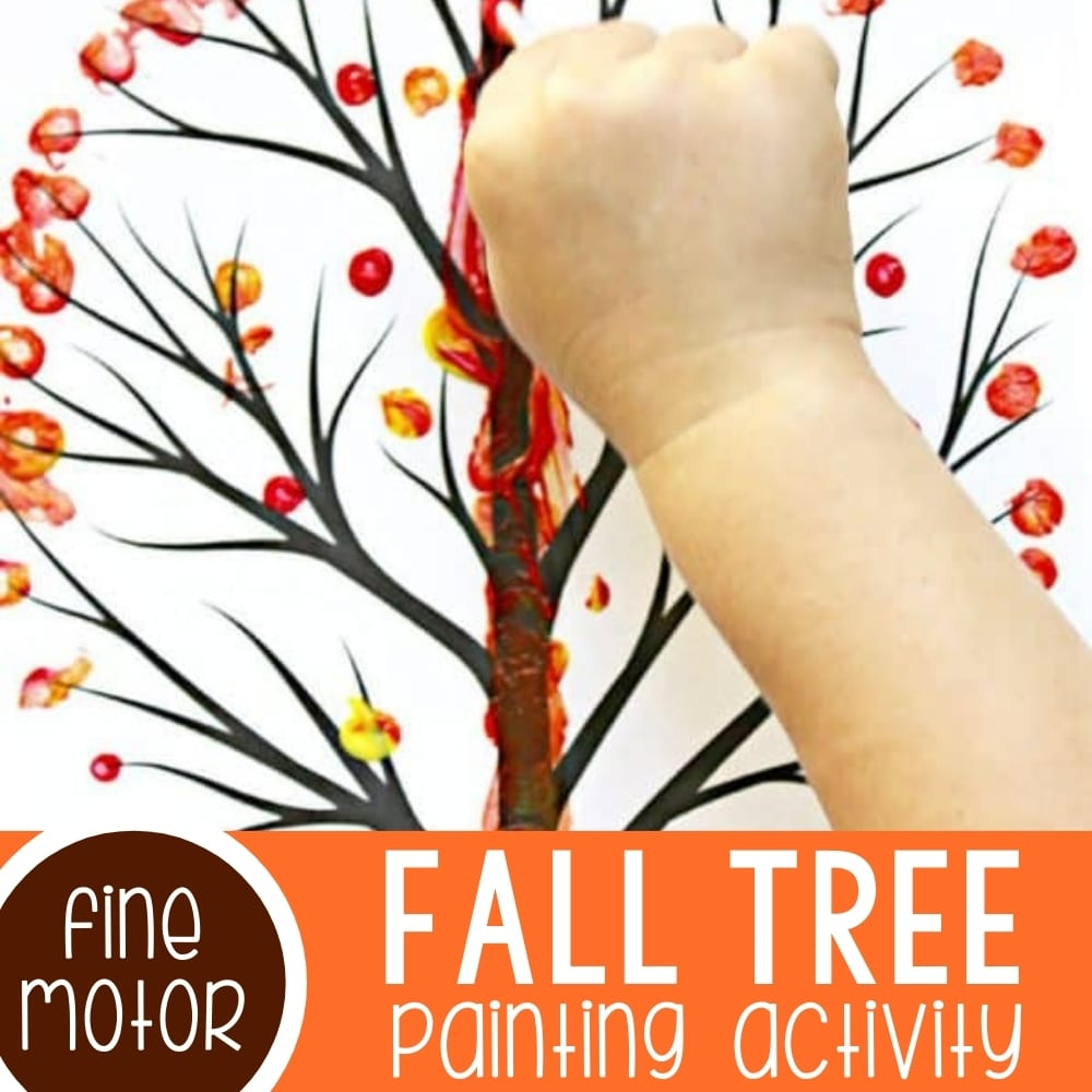 Q-Tip Fall Tree for Preschoolers