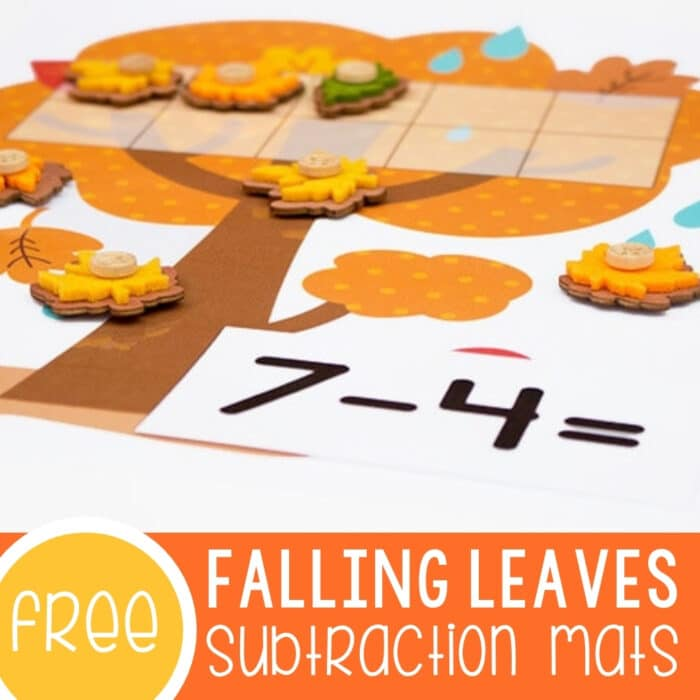 Subtracting with Ten-Frames Leaf Theme Featured Square Image