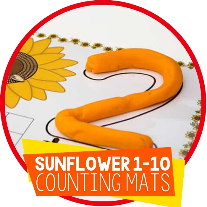 Free Sunflower Play Dough Mats for Numbers 1-10