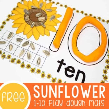 Sunflower Play Dough Mats for Numbers 1-10 Featured Square Image