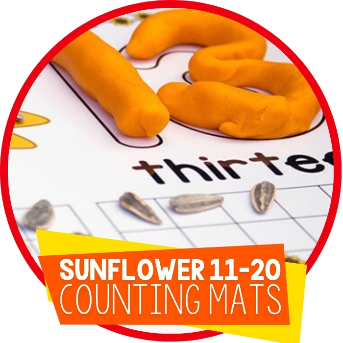 Free Sunflower Play Dough Mats for Numbers 11-20