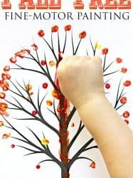 Q-Tip Fall Tree for Preschoolers