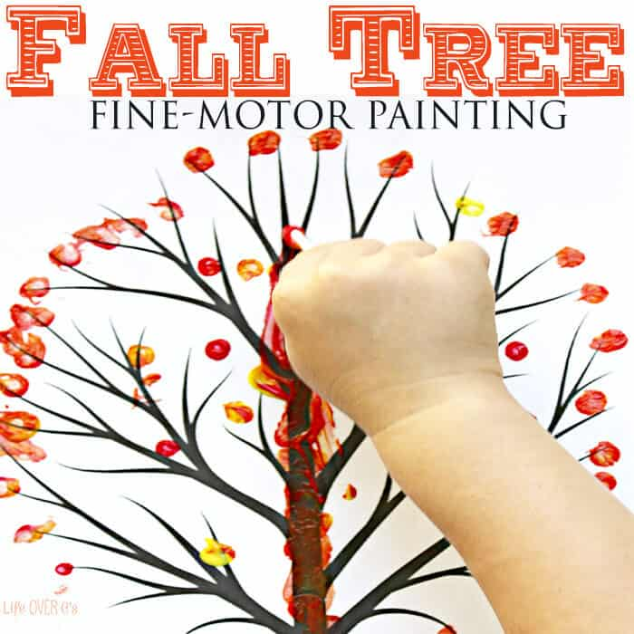 q tip fall tree for preschoolers