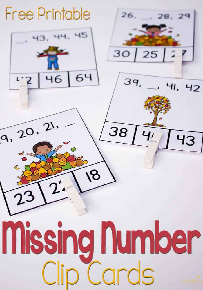 Missing Number Clip Cards