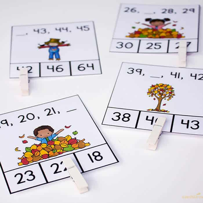 Free missing number clip cards for fall are perfect for reviewing number order for double-digit numbers!