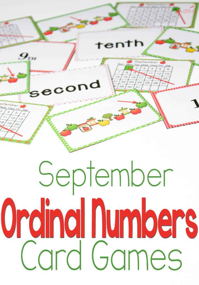 Ordinal Numbers Card Game for September