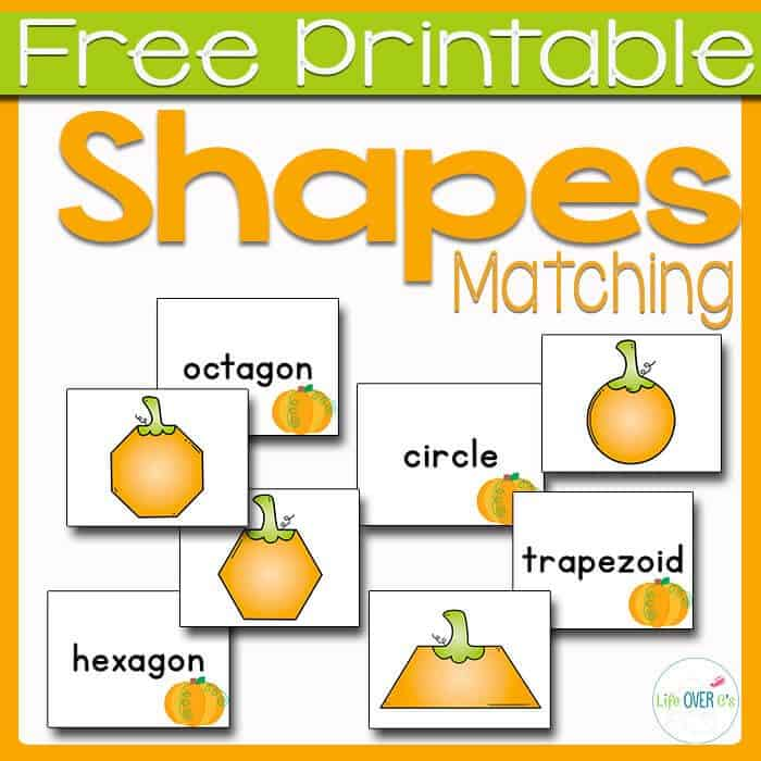 This free pumpkin shape matching game is a fun way to learn the names of shapes this fall!