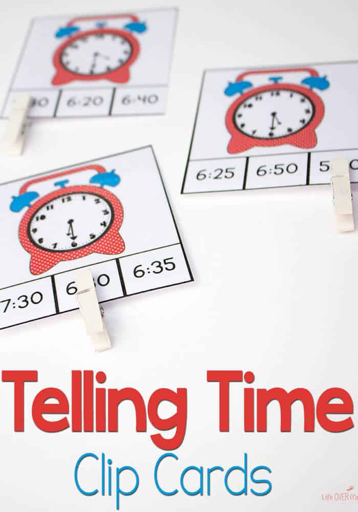 192 Time Clip Cards for learning to tell time! 7 levels of practice! Time activities for kids #tellingtime #mathcenters #kindergarten #1stgrade #printable #kindergartenmath