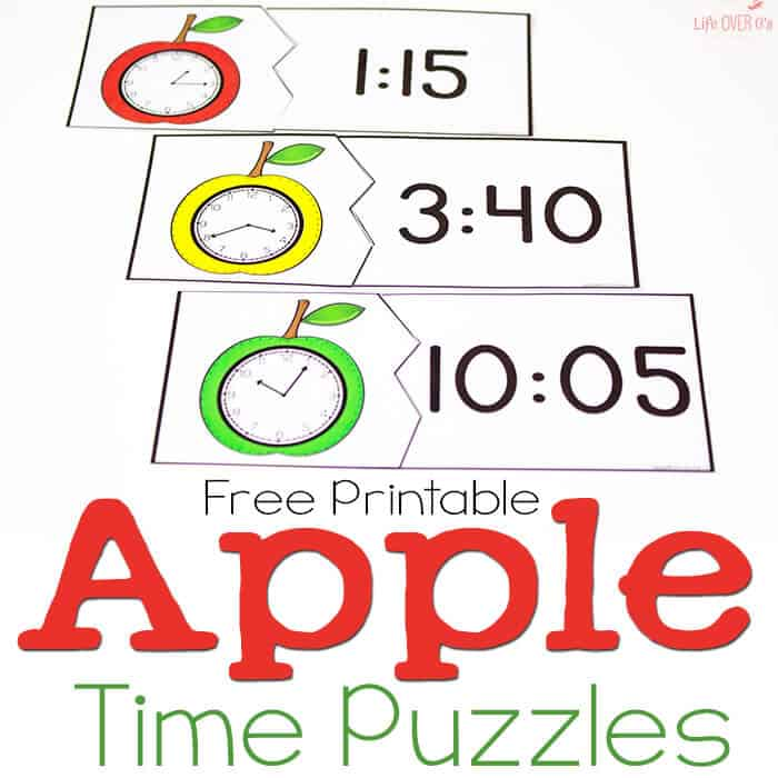 Free Printable Time Puzzles Apple Theme